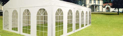 Zelthallen mit  84 x 48 mm ALU-Gerüst