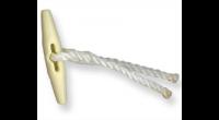 5 Knebel mit Seil weiß 18 cm
